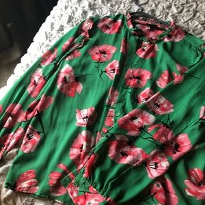 Large floral print blouse